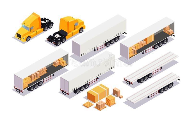 Ustawia elementu ładunku transport Mieszkania 3d miasta Isometric Wysokiej Jakości transport ładunek ciężarówka, przyczepa royalty ilustracja