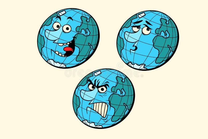 Ustawia emoci planety ziemi charaktery royalty ilustracja