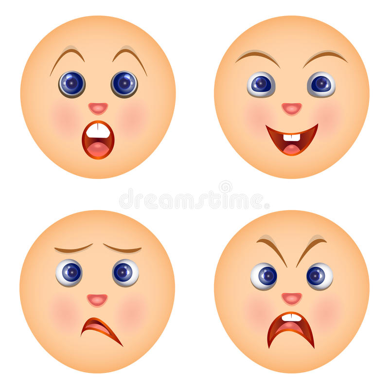 Ustawia emoticons czuje emocje na twarzach ilustracja wektor