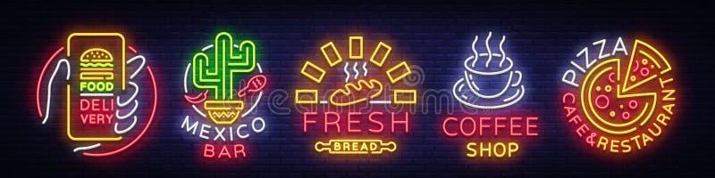 Ustawia fastów food logów Inkasowi neonowi znaki, Uliczny jedzenie, Karmowa dostawa, Meksyk bar, Świeży chleb, sklep z kawą, pizz ilustracji