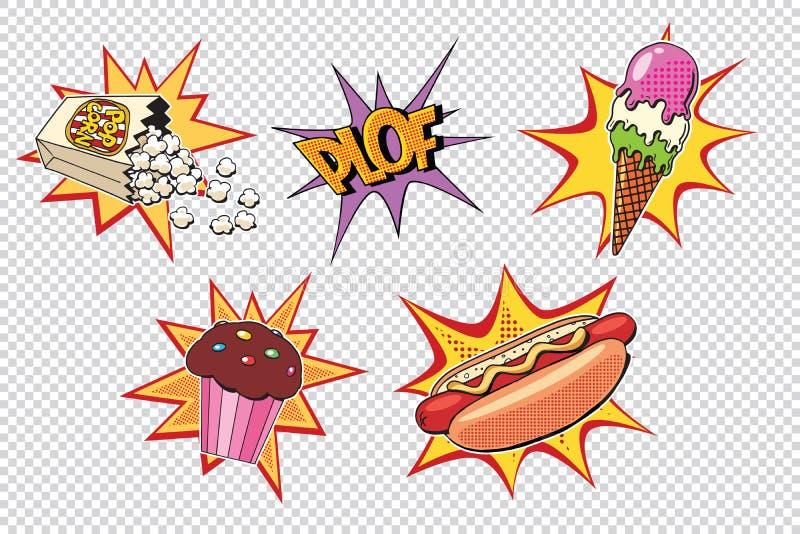 Ustawia fast food i cukierki, wystrzał sztuki styl royalty ilustracja