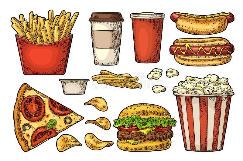 Ustawia fast food Kawa, hamburger, pizza, hotdog, dłoniak grula, popkorn royalty ilustracja