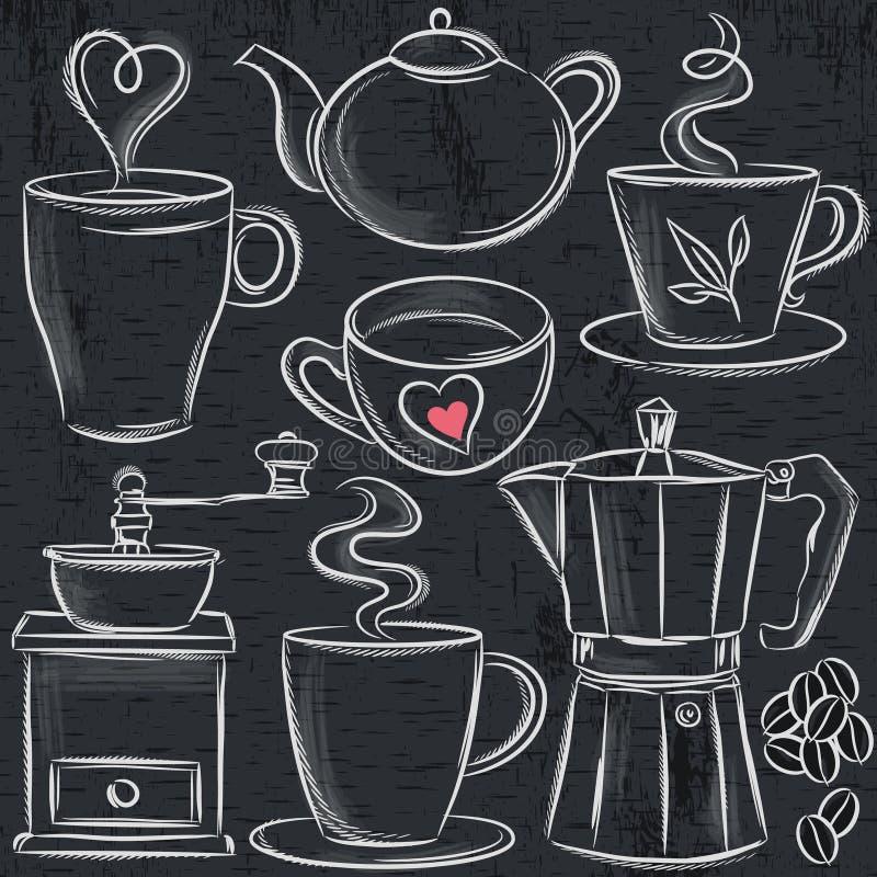 Ustawia filiżankę gorący napój na blackboard royalty ilustracja