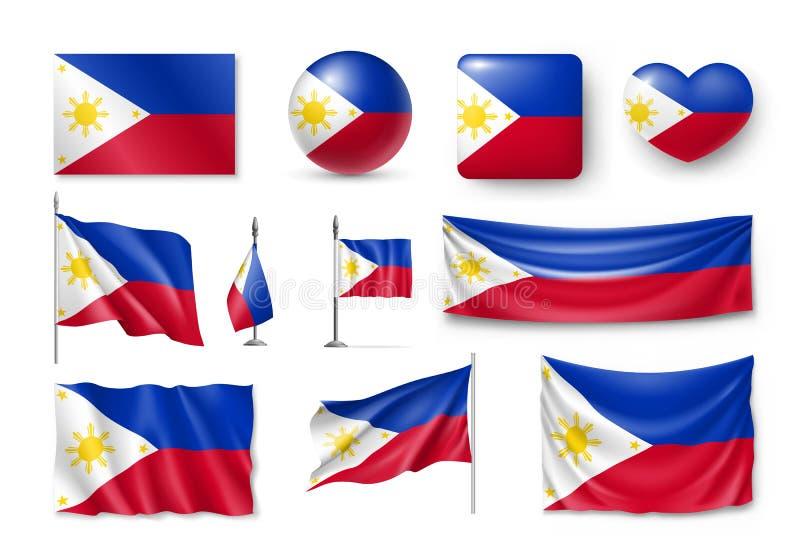 Ustawia Filipińskie flaga, sztandary, sztandary, symbole, płaska ikona ilustracja wektor
