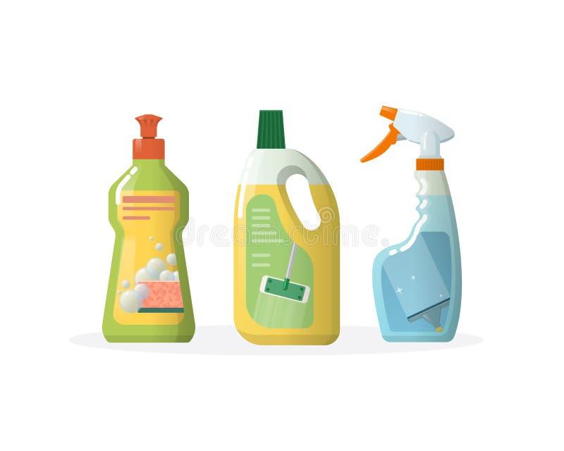 Ustawia gospodarstwo domowe, cleaning produkty dla okno, podłoga, w plastikowych butelkach ilustracji
