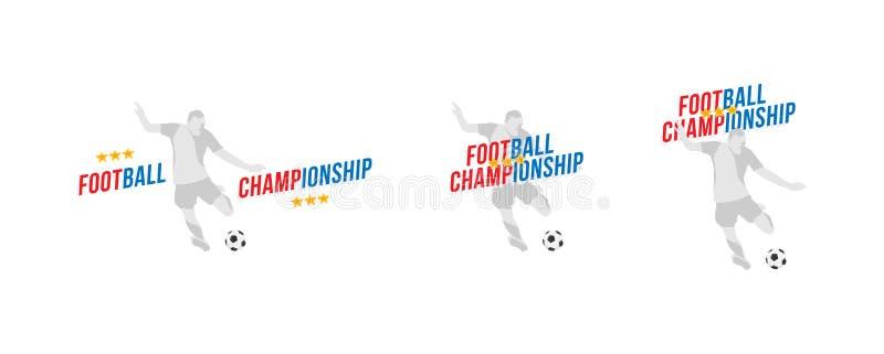 Ustawia gracza futbolu z piłki i chrzcielnicy wpisowym futbolowym mistrzostwem Płaska Wektorowa ilustracja EPS 10 ilustracji
