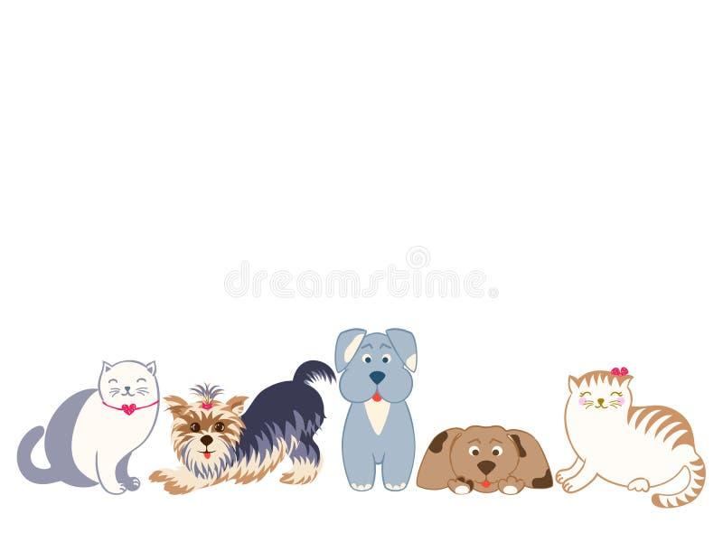 Ustawia granicę śliczni koty i psy ilustracja wektor