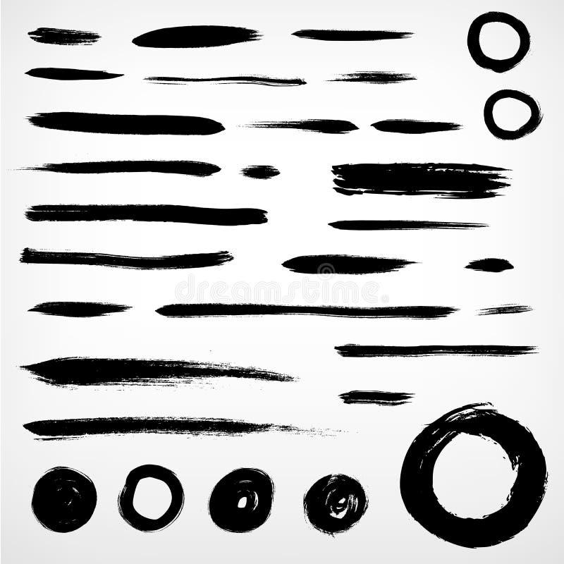 Ustawia grunge szczotkujących elementy. linie i okręgi ilustracja wektor