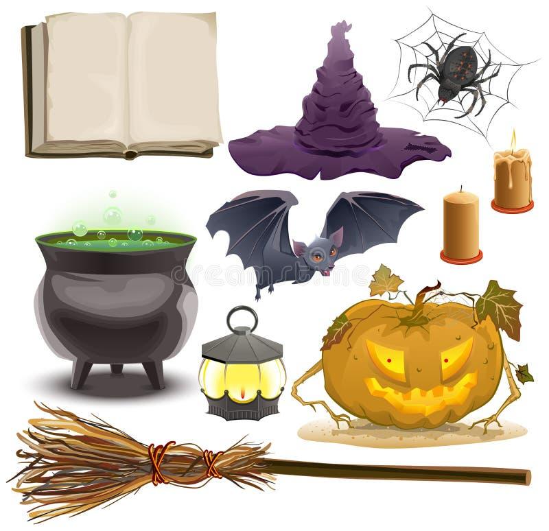Ustawia Halloweenowych przedmiotów akcesoria Bania, lampion, kapelusz, miotła, kocioł, pająk, nietoperz i stara książka, royalty ilustracja