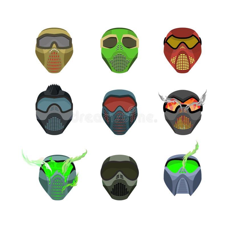 Ustawia hełmy i maski dla sportów Diabelne okropne maski straszny ilustracji
