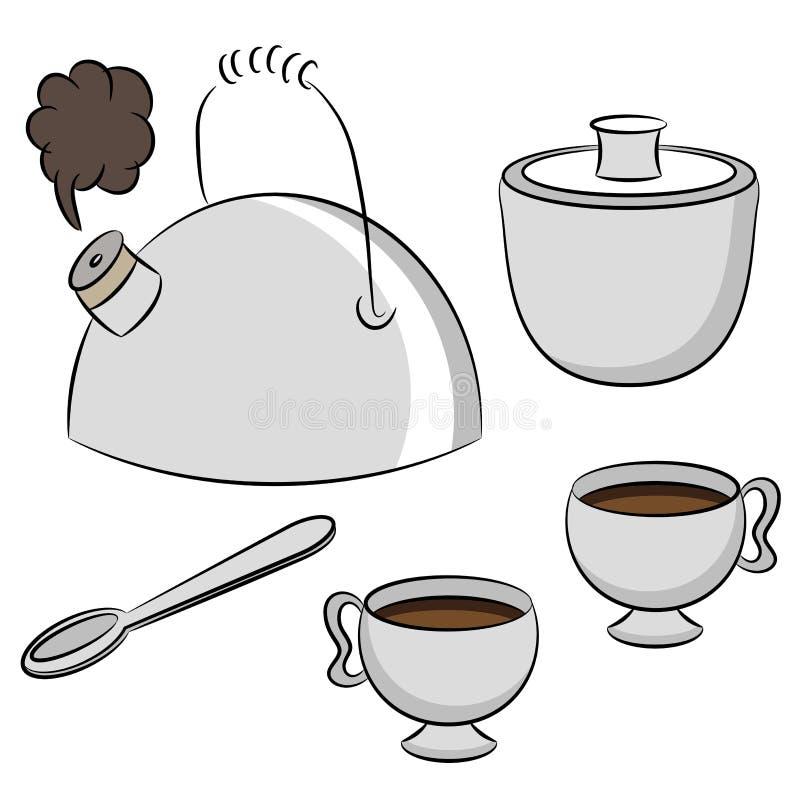 ustawia herbaty ilustracji