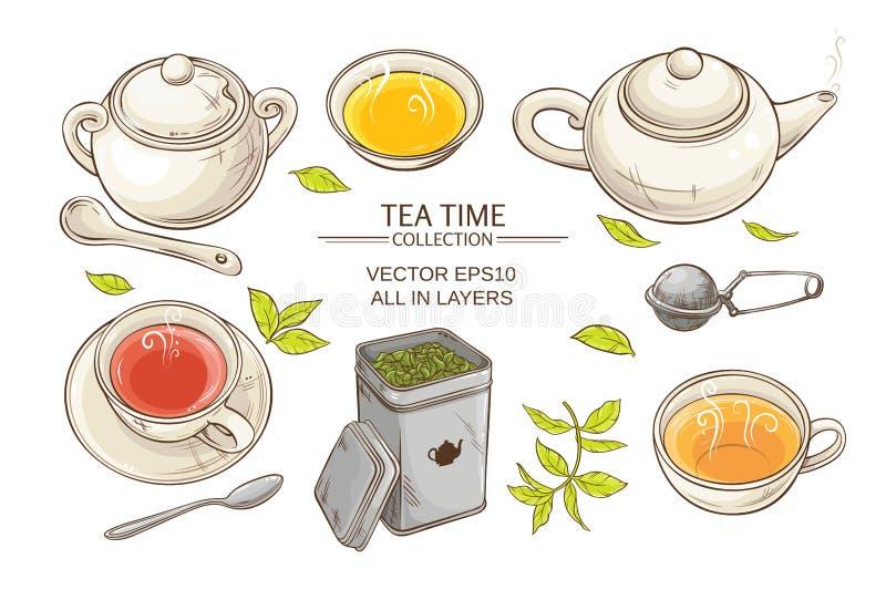 ustawia herbaty royalty ilustracja