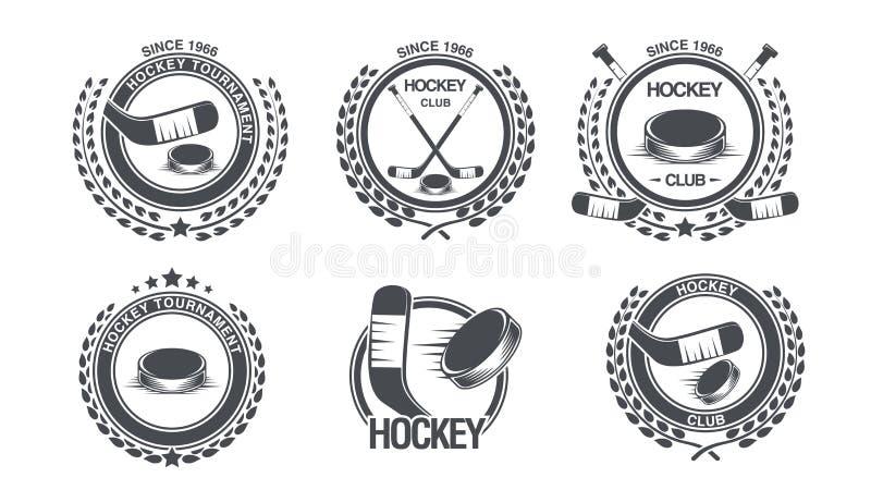 Ustawia hokejową ikonę Starego stylu logo ilustracji
