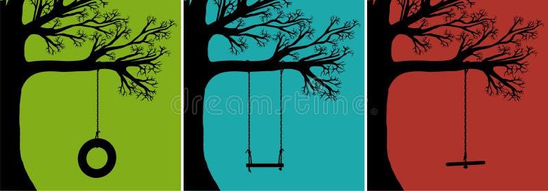 ustawia huśtawki drzewne royalty ilustracja
