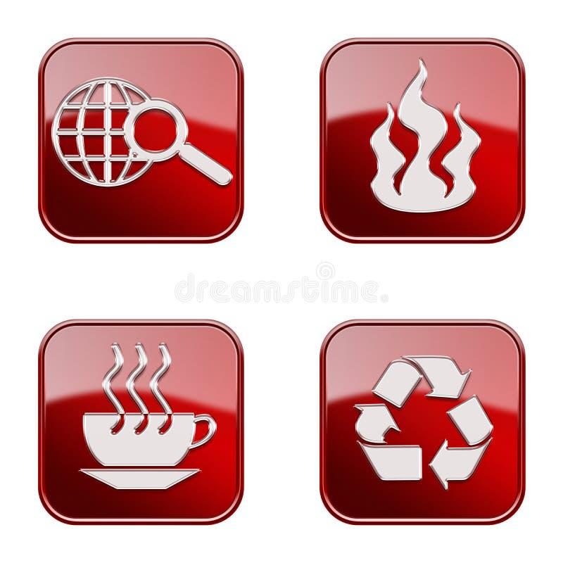 Ustawia ikonę czerwony glansowany -01. ilustracji