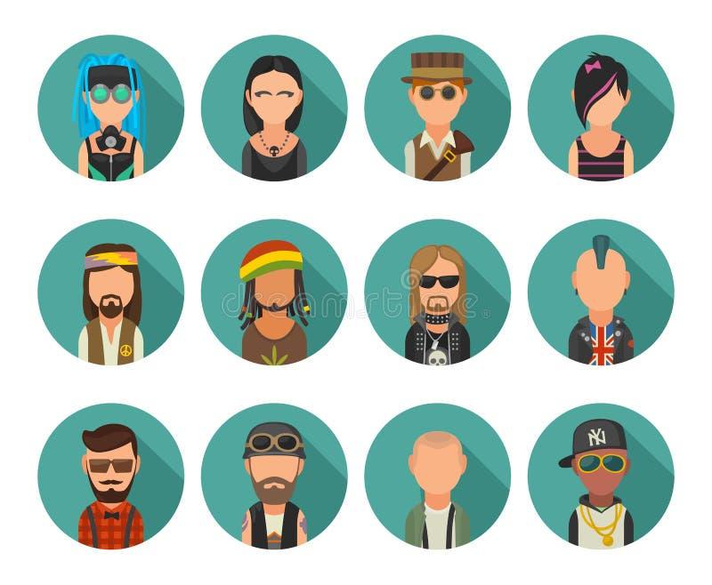 Ustawia ikon subkultur różnych ludzi Modniś, raper, emo punkowy, rastafarian, rowerzysta, goth, hipis, metalhead, steampunk, skin ilustracja wektor