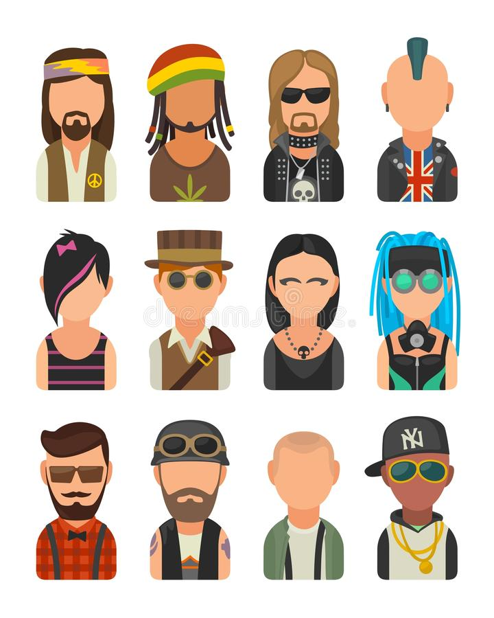 Ustawia ikon subkultur różnych ludzi Modniś, raper, emo punkowy, rastafarian, rowerzysta, goth, hipis, metalhead, steampunk, skin royalty ilustracja