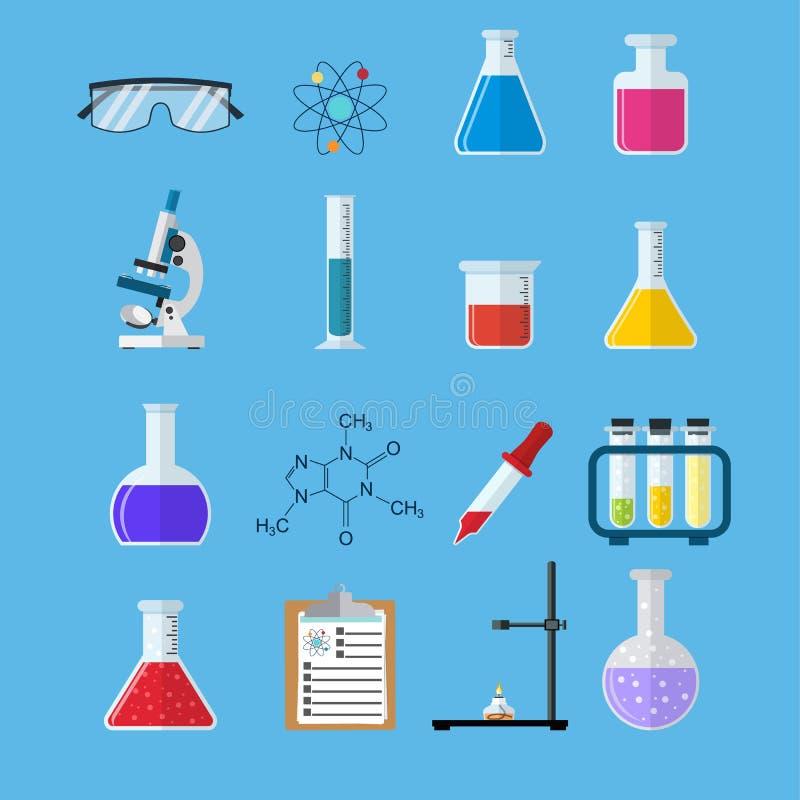 Ustawia ikon substancje chemiczne ilustracja wektor
