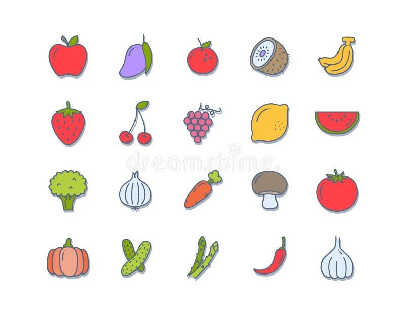 Ustawia 20 ikon weganinu jedzenie, set odznaki, emblematy i znaczki, royalty ilustracja