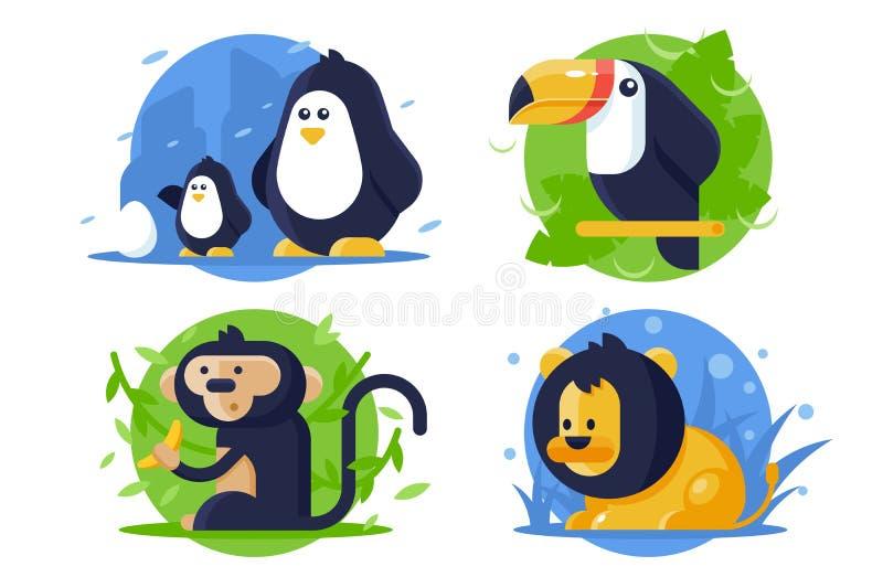 Ustawia ikon zwierzęta z lwem, pingwin, małpa, pieprzojad royalty ilustracja
