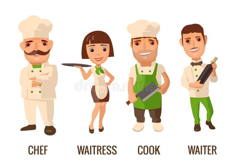 Ustawia ikona charakteru kucharza Kelner, szef kuchni, kelnerka, ilustracja wektor