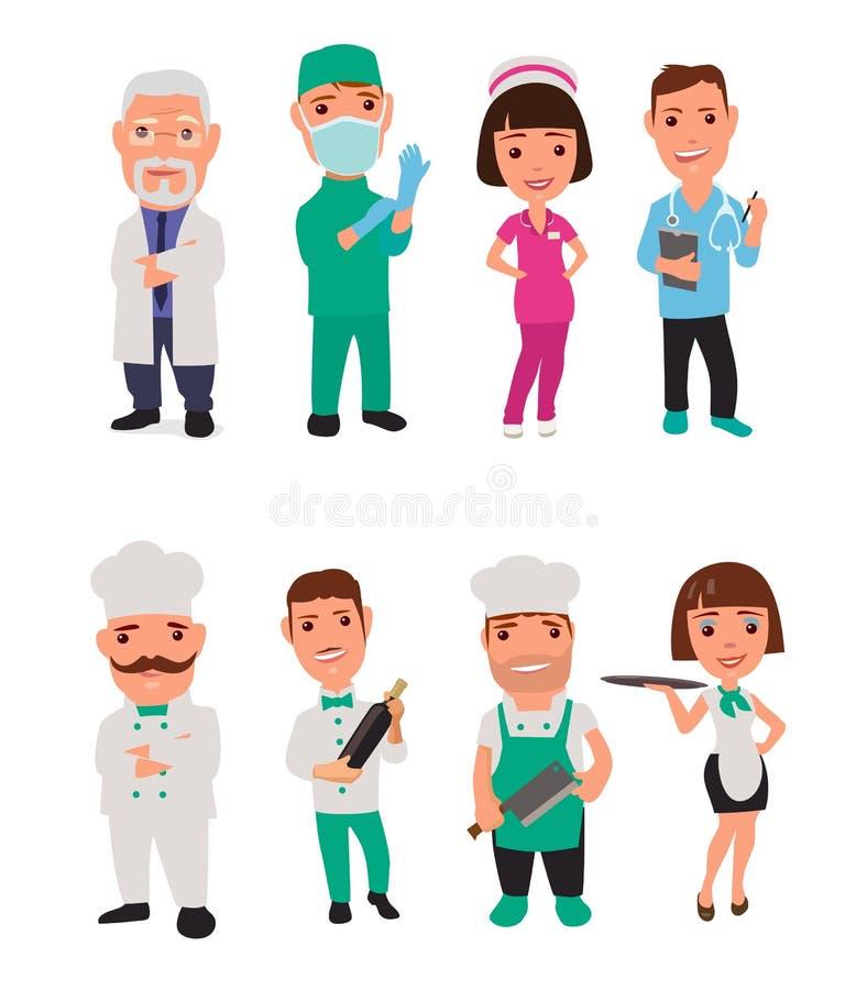 Ustawia ikona charakteru lekarki i kucharza royalty ilustracja