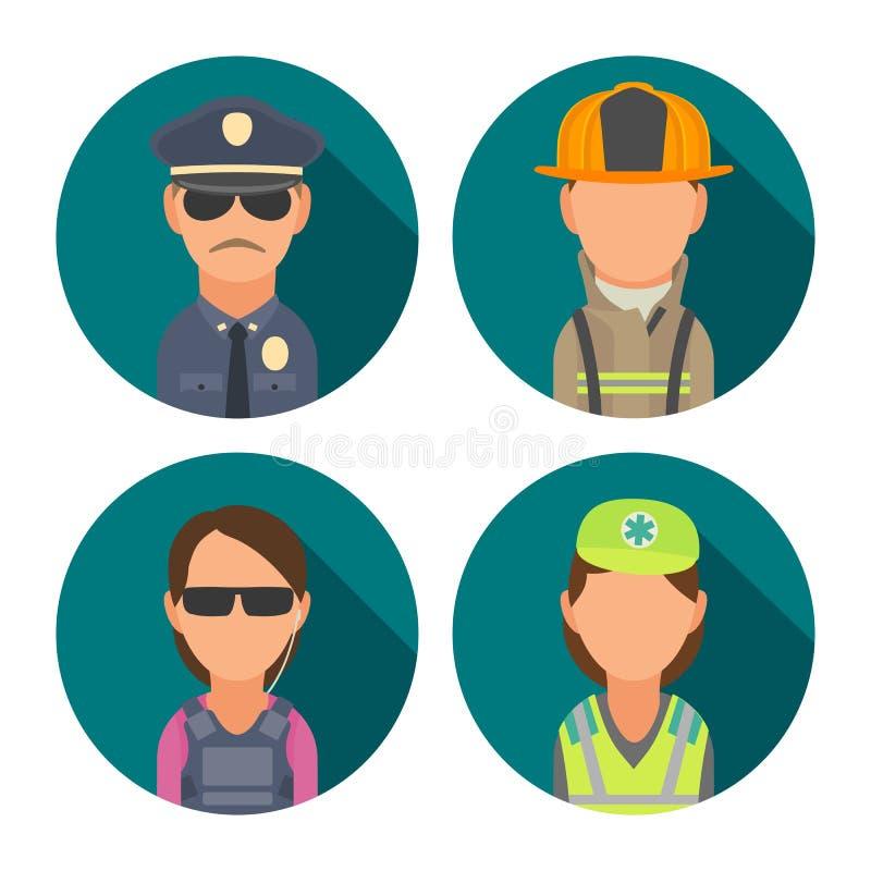 Ustawia ikona charakteru ludzi Policja, ochroniarz, palacz, sanitariusz royalty ilustracja