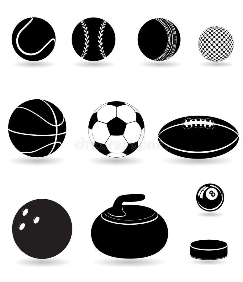 Ustawia ikona sporta piłek sylwetki wektoru czarnego illu royalty ilustracja