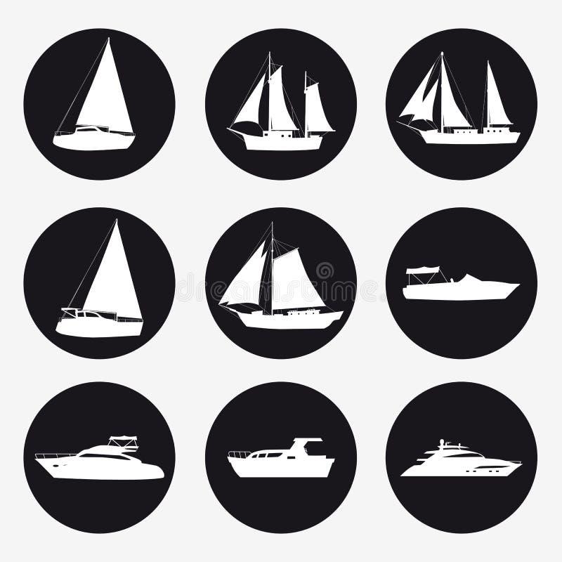 Ustawia ikona statek, przyjemno?ci ??d?, pr?dko?ci ??d?, statek wycieczkowego, luksusowego jacht na czarnym tle dla grafiki i sie ilustracja wektor
