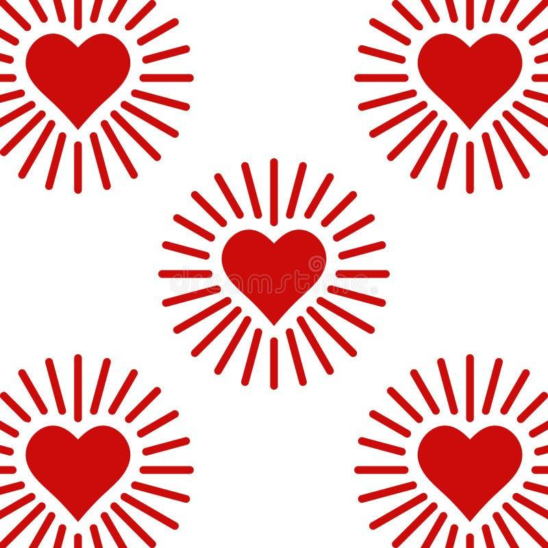 Ustawia ikony błyszczy serce, serce z promieniami miłość, wektorowego symbolu znaka miłość i opiekę dla inny pojęcie rad ilustracja wektor