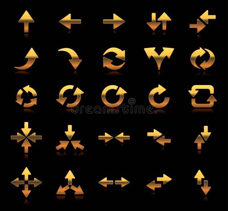 Ustawia ikony i symbolu kierunku strzałkowatego złoto złotego royalty ilustracja