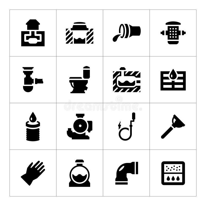 Ustawia ikony kanalizacja ilustracji
