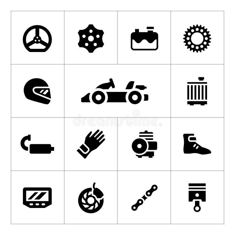 Ustawia ikony karting royalty ilustracja
