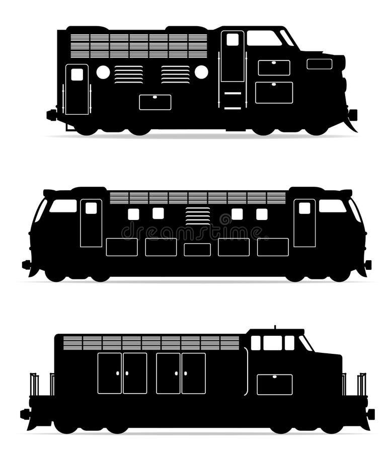 Ustawia ikony kolejowej lokomotywy pociągu czerni konturu sylwetki vect royalty ilustracja