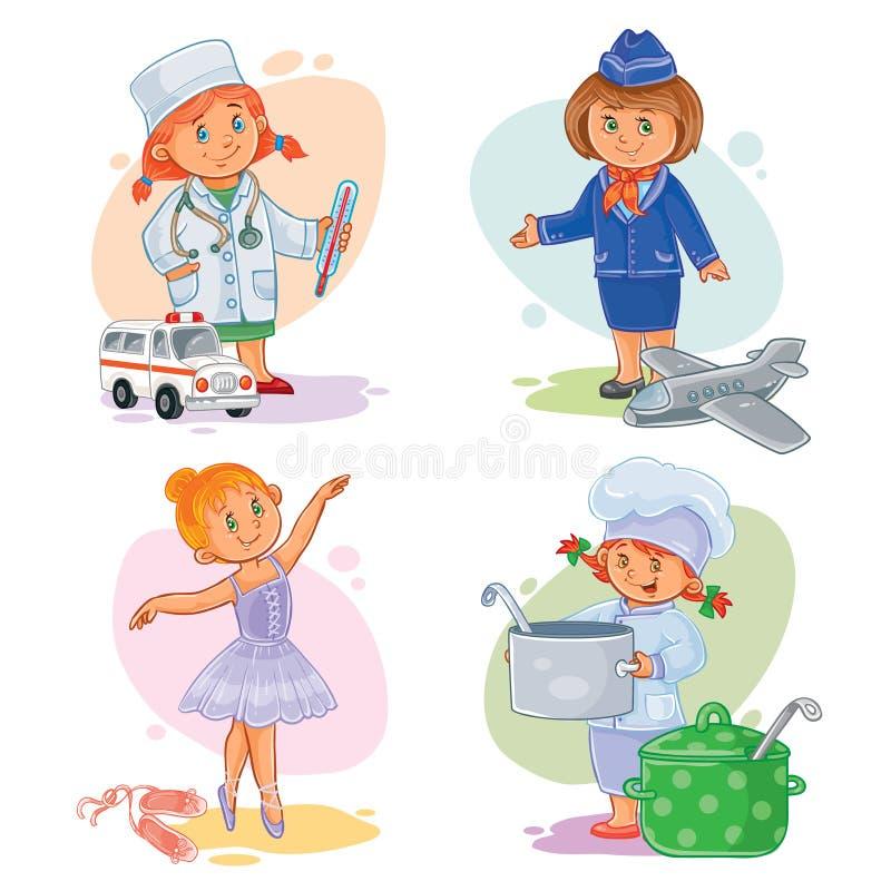 Ustawia ikony małych dzieci różni zawody ilustracji