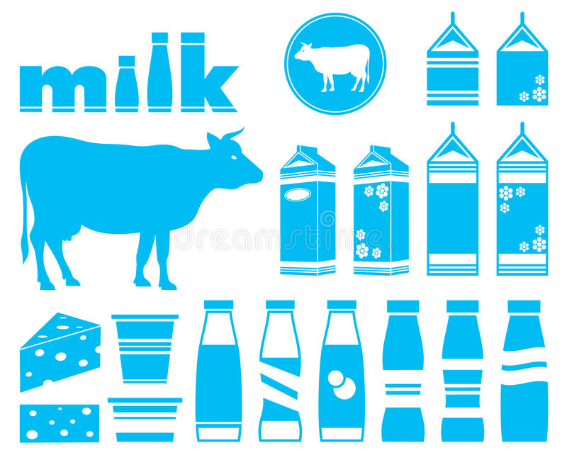 Ustawia ikony mleko ilustracji