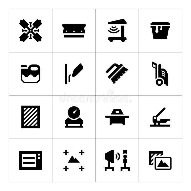 Ustawia ikony parawanowy druk ilustracja wektor