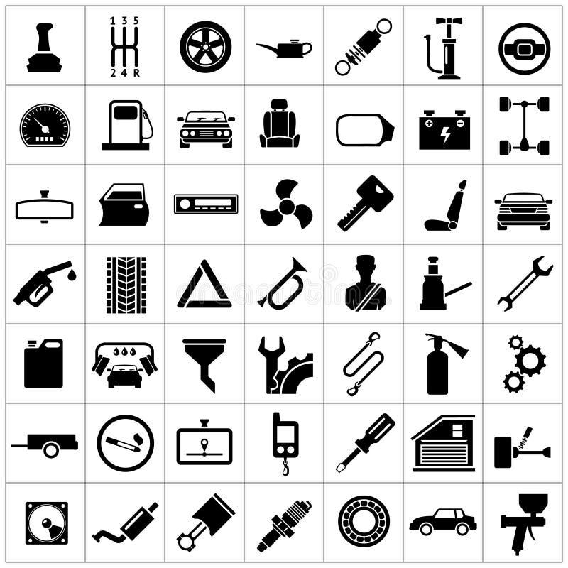Ustawia ikony samochód, samochodowe części, naprawa i usługa, royalty ilustracja
