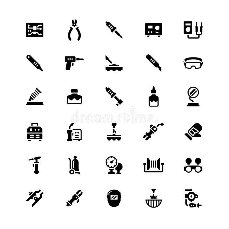 Ustawia ikony spaw i lutowanie ilustracja wektor