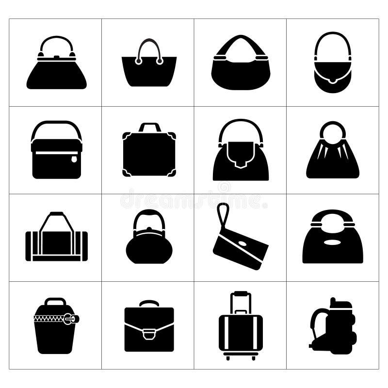 Ustawia ikony torby ilustracji