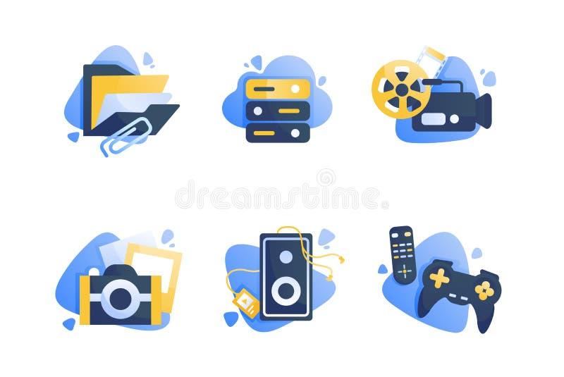 Ustawia ikony z multimediami, falc?wka, kamera, kino, daleki kontroler, joystick ilustracja wektor