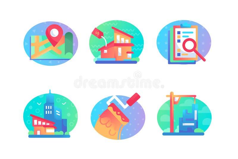 Ustawia ikony z sprzedażą, bulding, dom, mapa, kontrakt ilustracji