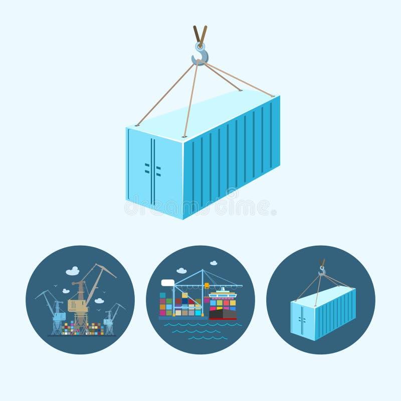 Ustawia ikony z zbiornikiem żurawie w doku ilustracji