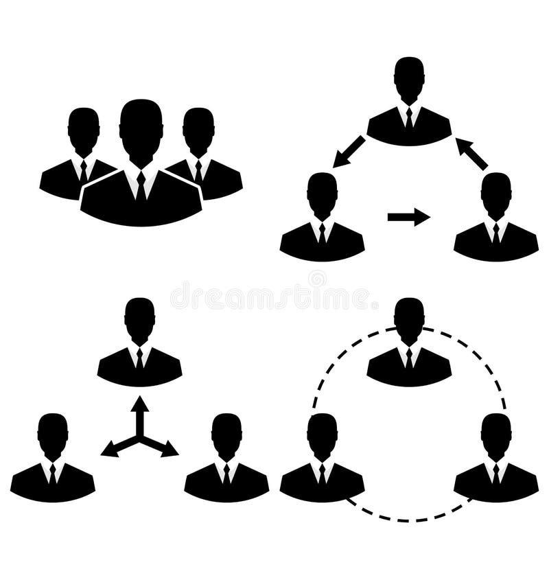 Ustawia ikony zarządzanie i działy zasobów ludzkich royalty ilustracja