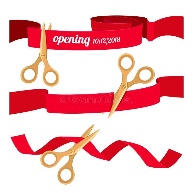 Ustawia ilustracje z nożycami ciie czerwonych faborki royalty ilustracja