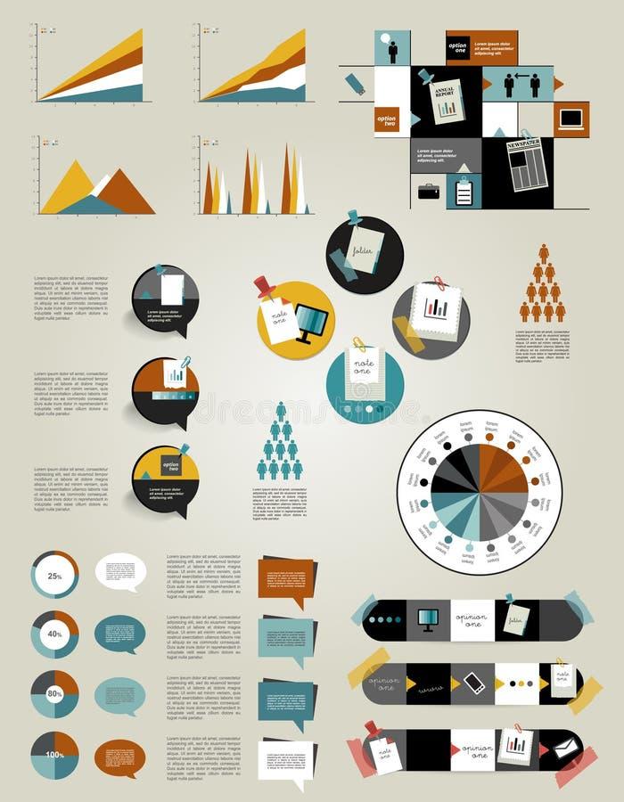 Ustawia infographics projekta płaskich elementy, falcówki, mowa bąble, royalty ilustracja