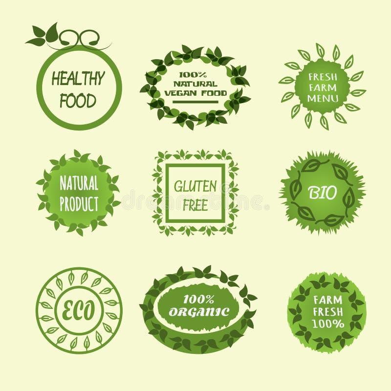 Ustawia jarzynowych logów Zdrowy jedzenie, 100% weganinu naturalny produkt, Fa royalty ilustracja