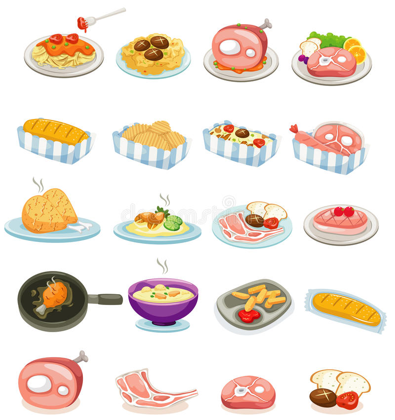 Ustawia jedzenie ilustracja wektor