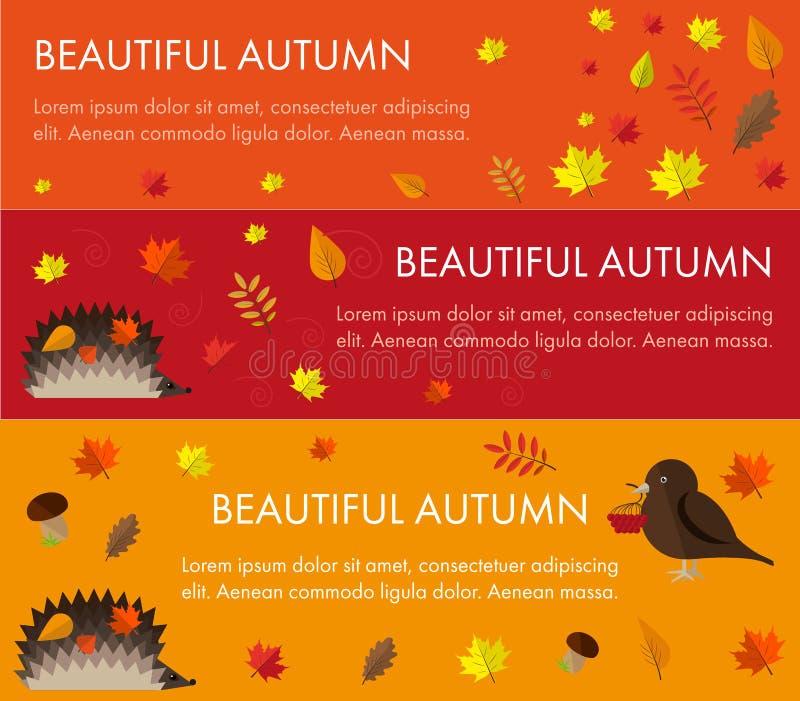 Ustawia jesień sztandary ilustracja wektor