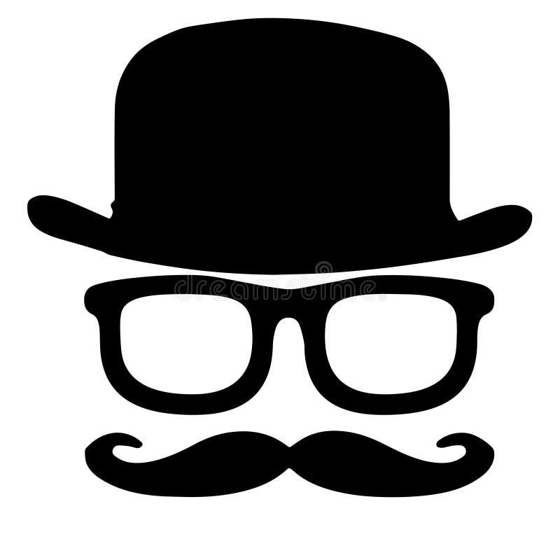 Ustawia kapelusz, szkło wąsy ilustracja wektor